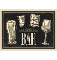 Poster or signboard bar set glass beer whiskey vector