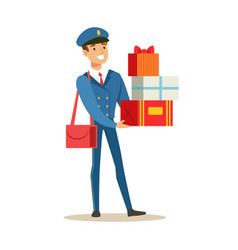 Postman in blue uniform delivering holiday gifts vector