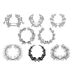 Retro wreathset vector image vector image