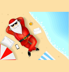 Santa claus resting on the beach vector