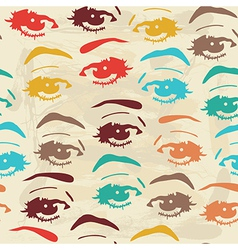 Seamless background with eyes endless eye pattern vector