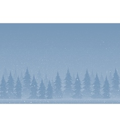 Silhouettes of trees on a snowy blue background vector image vector image
