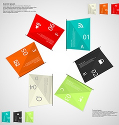 Six color paper sheets on light vector