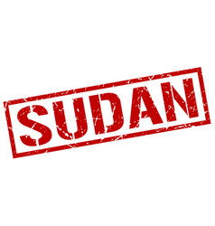 sudan red square stamp vector image vector image