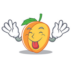 tongue out apricot mascot cartoon style vector image vector image