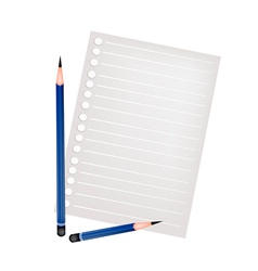 Two Pencil Lying on A Blank Page vector image