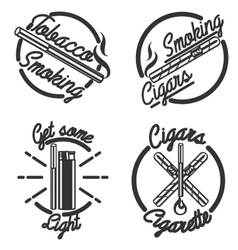 Vintage smoking emblems vector image vector image