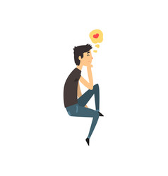 young man character dreaming about the girlfriend vector image
