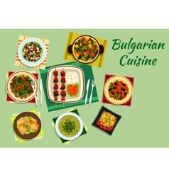National bulgarian cuisine menu dishes vector