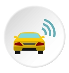 Ordering taxi via gps icon flat style vector