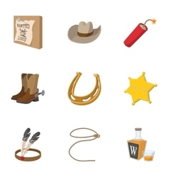 Wild west of america icons set cartoon style vector