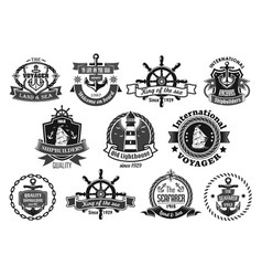 sea emblem set with anchor helm sailing ship vector image