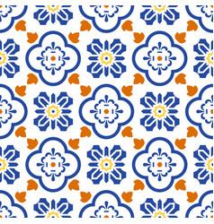 Ceramic blue and white mediterranean seamless tile vector