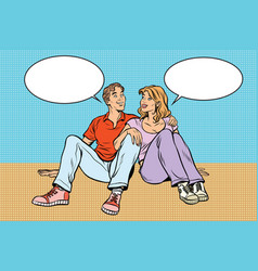 Young couple man and woman talking vector