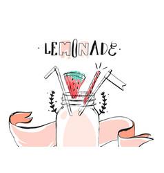hand drawn abstract summer time lemonade vector image