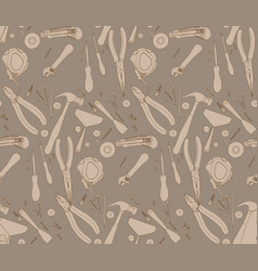 Hand drawn construction tools pattern vector