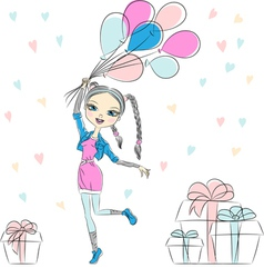Fashion girl with multi-colored balloons vector