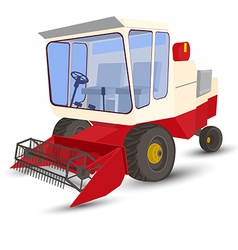 Combine-harvester red isolated image on a white vector