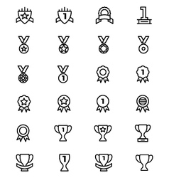 Award and medal line icons 5 vector