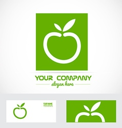Green apple organic logo vector