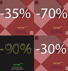 70 90 30 icon set of percent discount on abstract vector