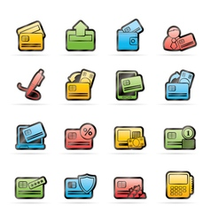 Credit card pos terminal and atm icons vector