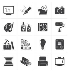 Black graphic and website design icons vector