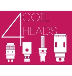 4 coil heads set vector