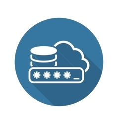 Secure cloud storage icon flat design vector