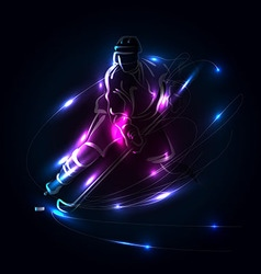 Abstract background with hockey player vector image