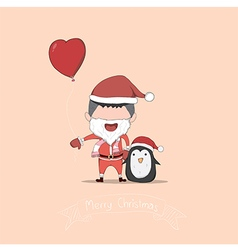 Boy and penguin cute christmas character drawing vector
