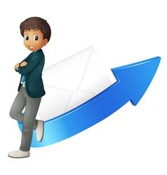 boy arrow and envelope vector image vector image