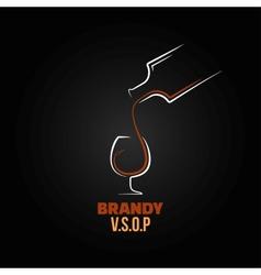Brandy glass bottle splash design background vector