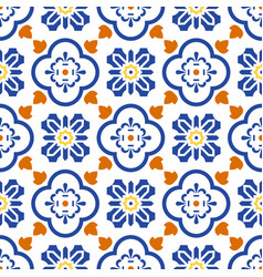 ceramic blue and white mediterranean seamless tile vector image vector image