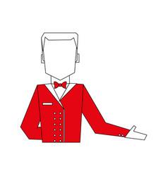 Color silhouette image half body faceless bellboy vector