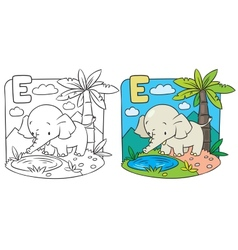 Coloring book of elephant Alphabet D vector image