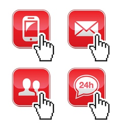 Contact buttons set with cursor hand icon vector image vector image