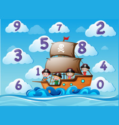 Counting numbers with children on ship vector
