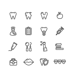Dental tooth doctor icon set vector