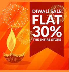 Diwali season discount and sale banner with diya vector