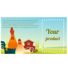 farm animal and rural landscape with chicken vector image vector image
