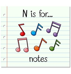Flashcard letter n is for notes vector