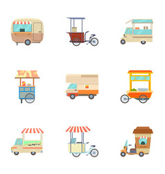 food vehicle icons set cartoon style vector image