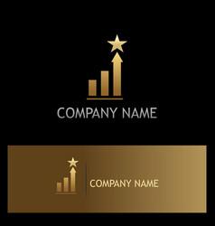 Gold star chart business finance logo vector