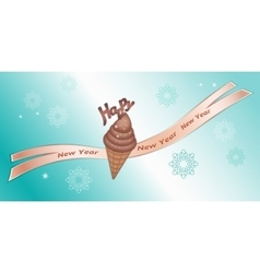 Greeting banner chocolate icecream with decor vector
