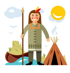 Indian with a spear flat style colorful vector