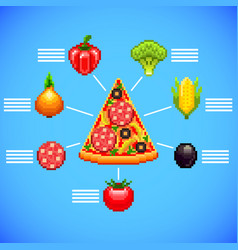Infographics with pizza slice and ingredients vector