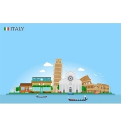 Italy skyline and flag vector