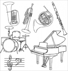 jazz music instruments vector image vector image
