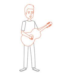 man playing guitar character vector image vector image